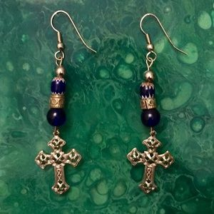 Blue/Silver Beaded Cross Earrings